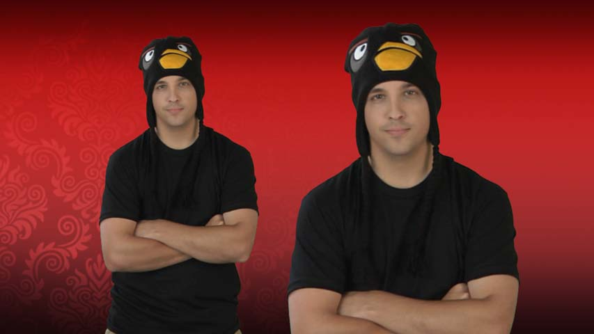Black Angry Birds Peruvian Hat
