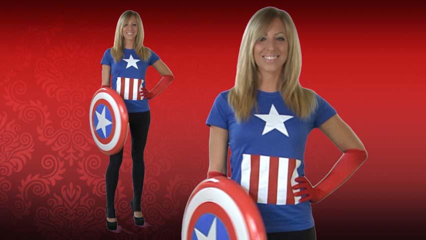 Womens Captain America Costume T-Shirt