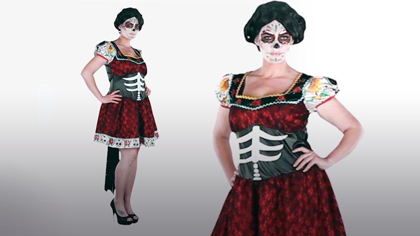 Womens Plus Dia De Los Muertos Costume
